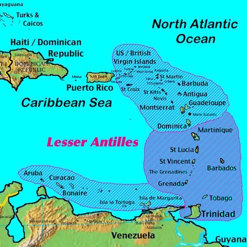 Caribbean Lesser Antilles Map